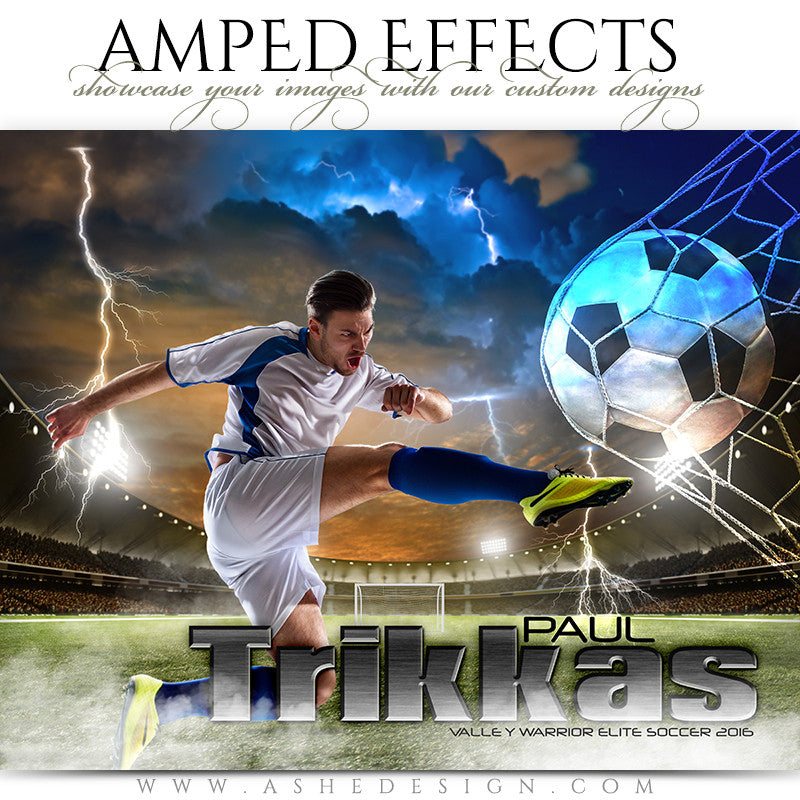 Ashe Design | Amped Effects | Photoshop Templates | Sports Poster 16x20 | Lightning Strikes Soccer