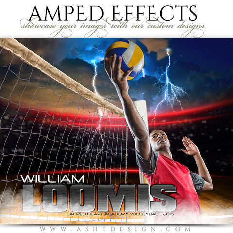 Ashe Design | Amped Effects | Photoshop Templates | Sports Poster 16x20 | Lightning Strikes Volleyball