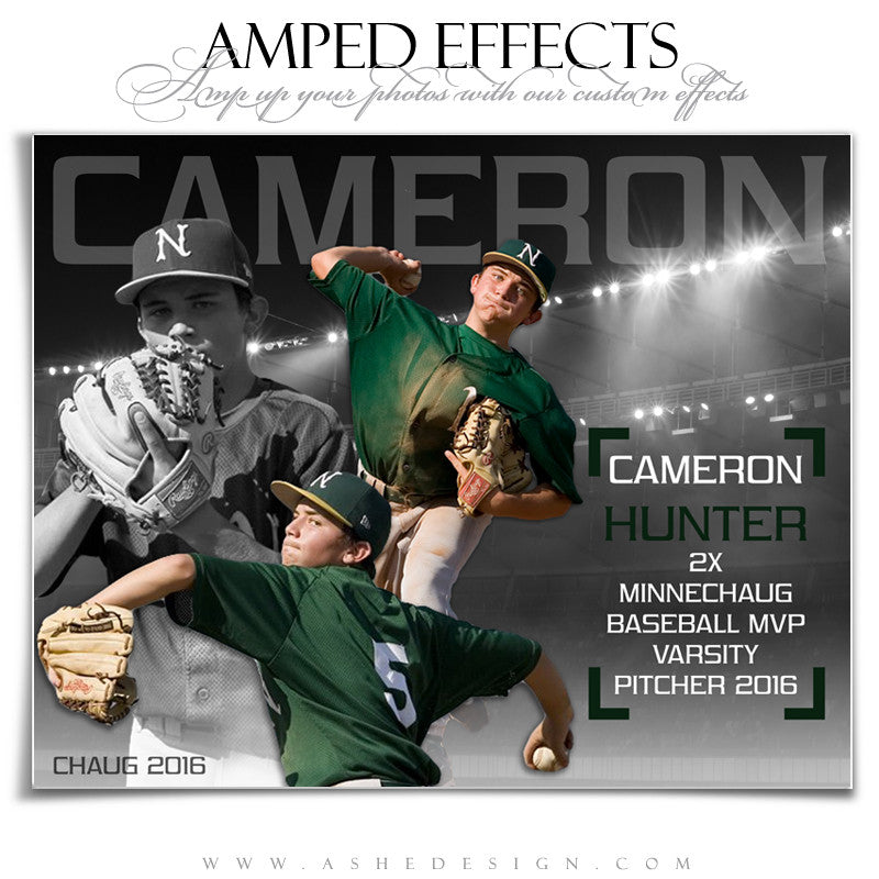 Ashe Design | Amped Effects | Photoshop Templates | Baseball Sports Posters | Triple Play