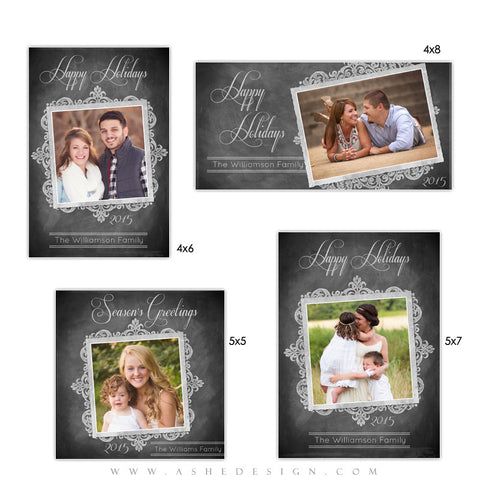 Ashe Design | Holiday Photocards | Photoshop Templates | Chalkboard Parchment