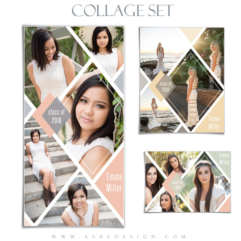 senior collage set 5x7 8x10 10x20 diamonds ashedesign. Black Bedroom Furniture Sets. Home Design Ideas