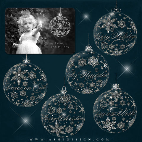 Ashe Design | Designer Gems - Holiday Greeting Glass Ornaments