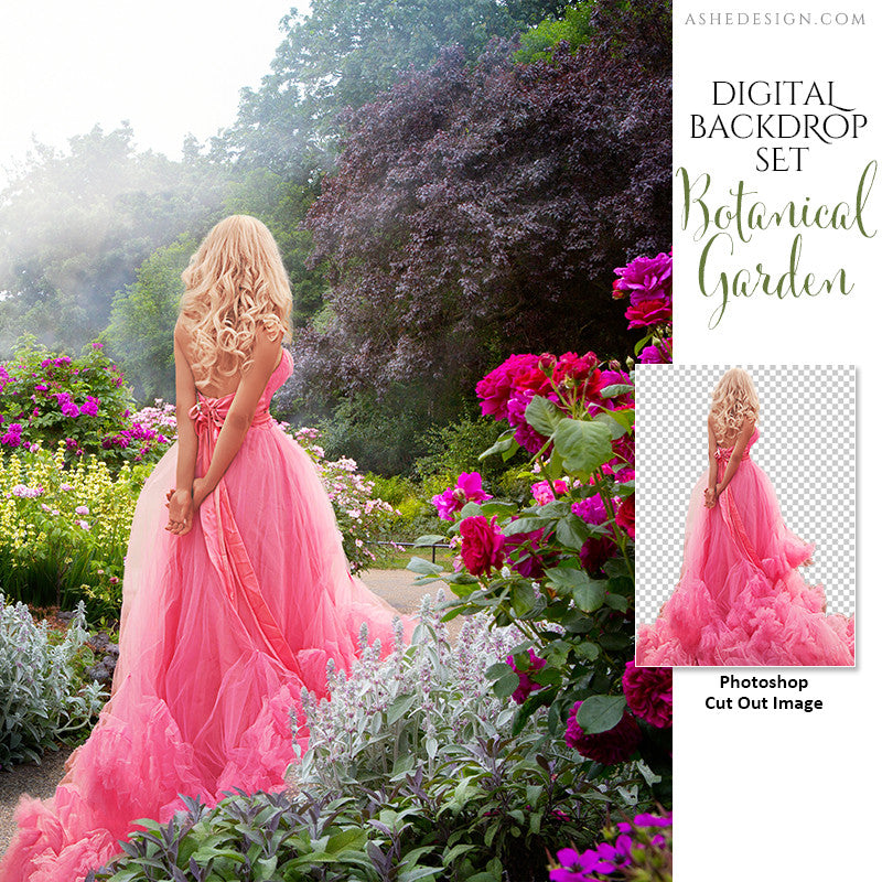Ashe Design | Photoshop Template | Digital Backdrop Set | 11x14 | Botanical Garden