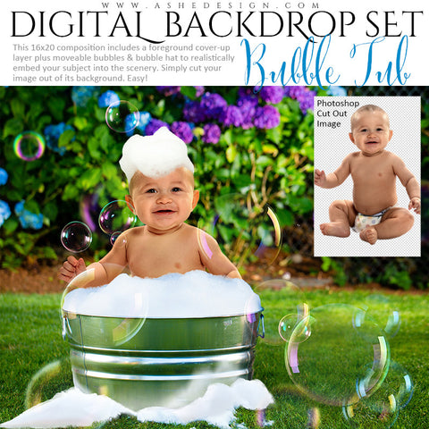 Ashe Design | Digital Backdrop Set | Bubble Tub