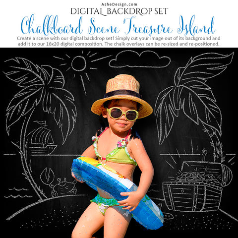 Ashe Design | Digital Backdrop Set | Chalkboard Scene | Treasure Island