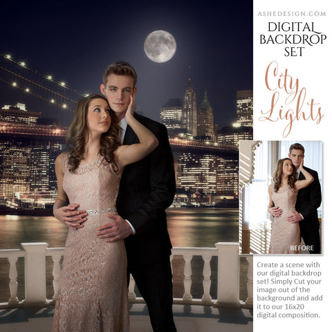Ashe Design | Digital Backdrops | 16x20 | City Lights