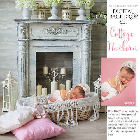 Ashe Design | Digital Backdrop Set | Cottage Newborn