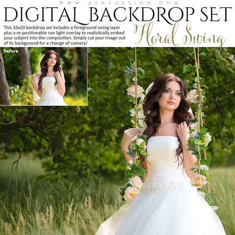 Ashe Design | Digital Backdrop Set | Floral Wedding Swing