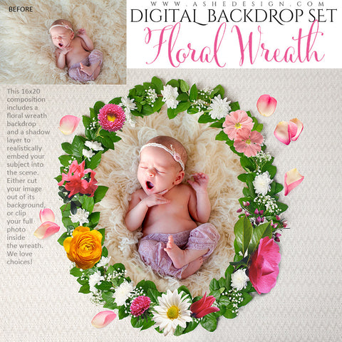 Ashe Design | Digital Backdrop Set | Floral Wreath