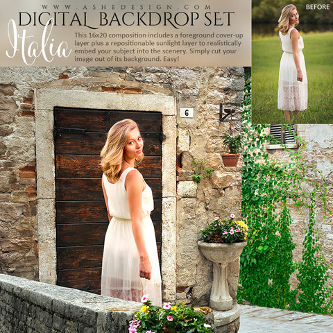 Ashe Design | Digital Backdrop Set | Italian Stone Villa | Italia