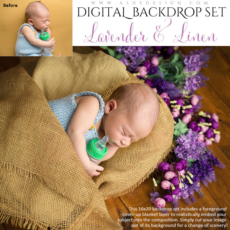 Ashe Design | Digital Backdrop Set | Lavender & Linen Baby