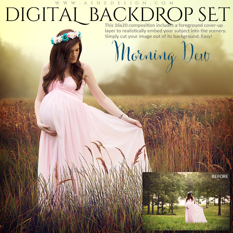 Ashe Design | Digital Backdrops | Morning Dew