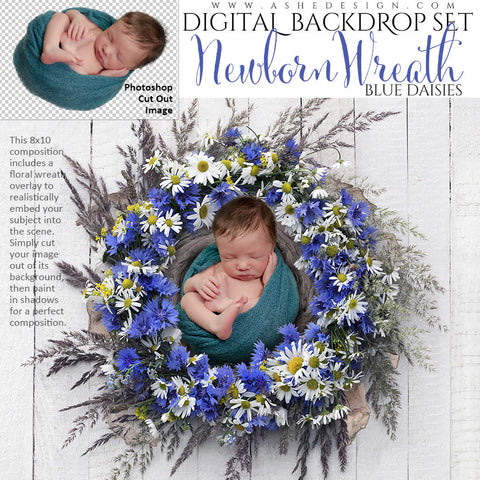 Ashe Design | Digital Backdrop Set |  8x10 | Newborn Wreath Nest | Blue Daisies