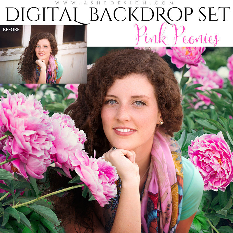 Ashe Design | Digital Backdrop Set | Pink Peonies