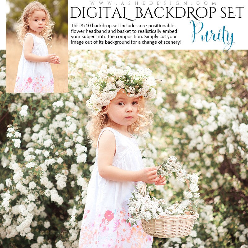 Ashe Design | Digital Backdrop Set |  8x10 | Purity White Flowers