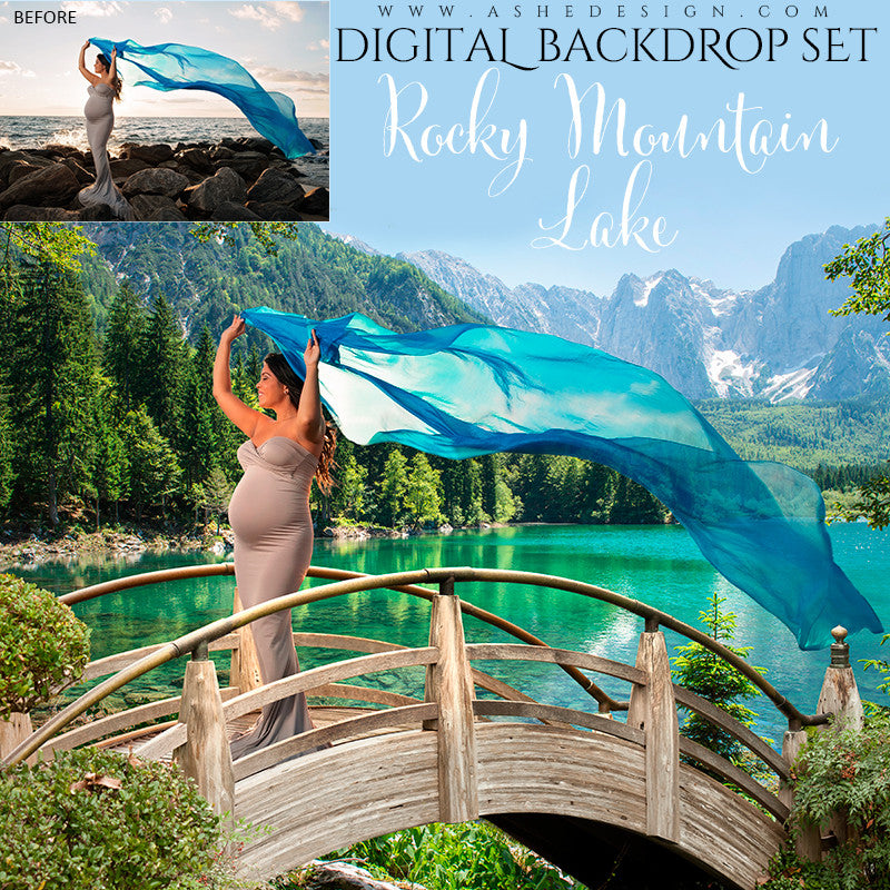 Ashe Design | Digital Backdrop Set | Rocky Mountain Lake