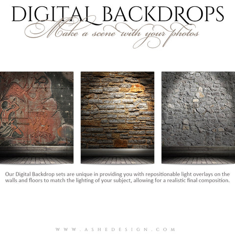 Ashe Design | Digital Backdrops | 16x20 | Sculpted Stone
