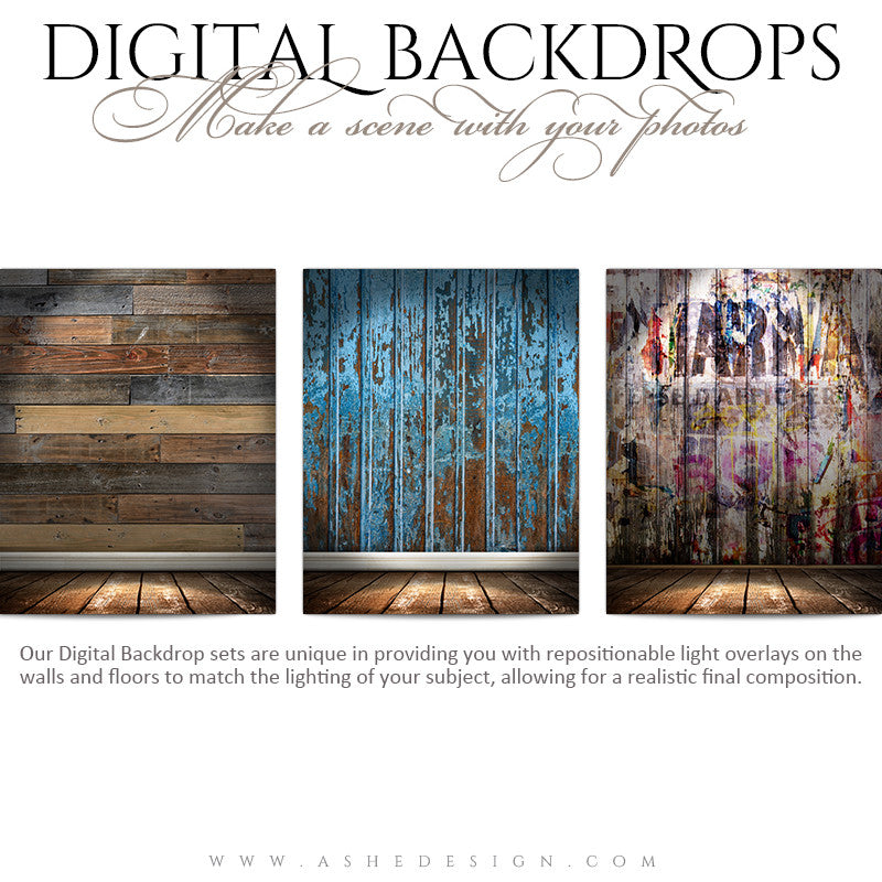 Ashe Design | Digital Backdrops | 16x20 | Shabby Wood
