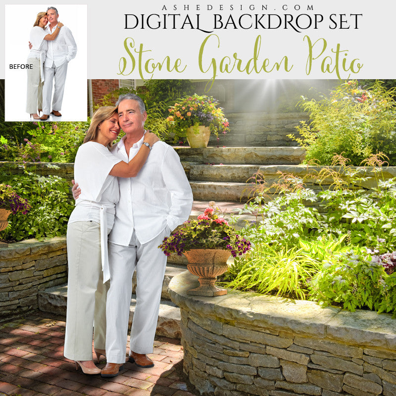 Ashe Design | Photoshop Template | Digital Backdrop Set | Stone Garden Patio