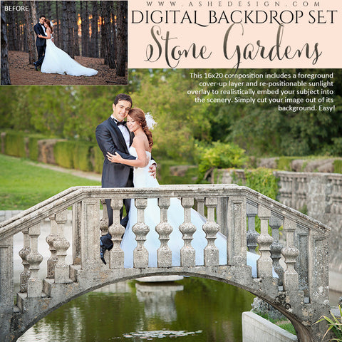 Ashe Design | Digital Backdrop Set | Stone Gardens