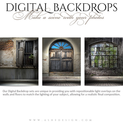 Ashe Design | Digital Backdrops | 16x20 | Stone Window