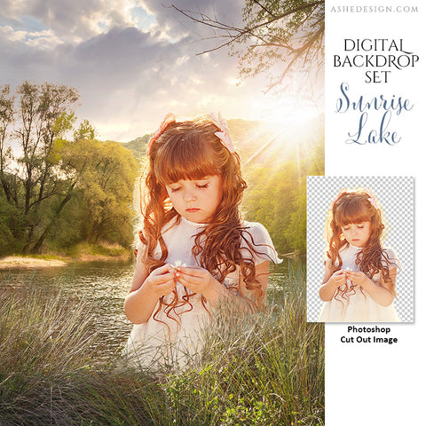 Ashe Design | Photoshop Template | Digital Backdrop Set | 11x14 | Sunrise Lake