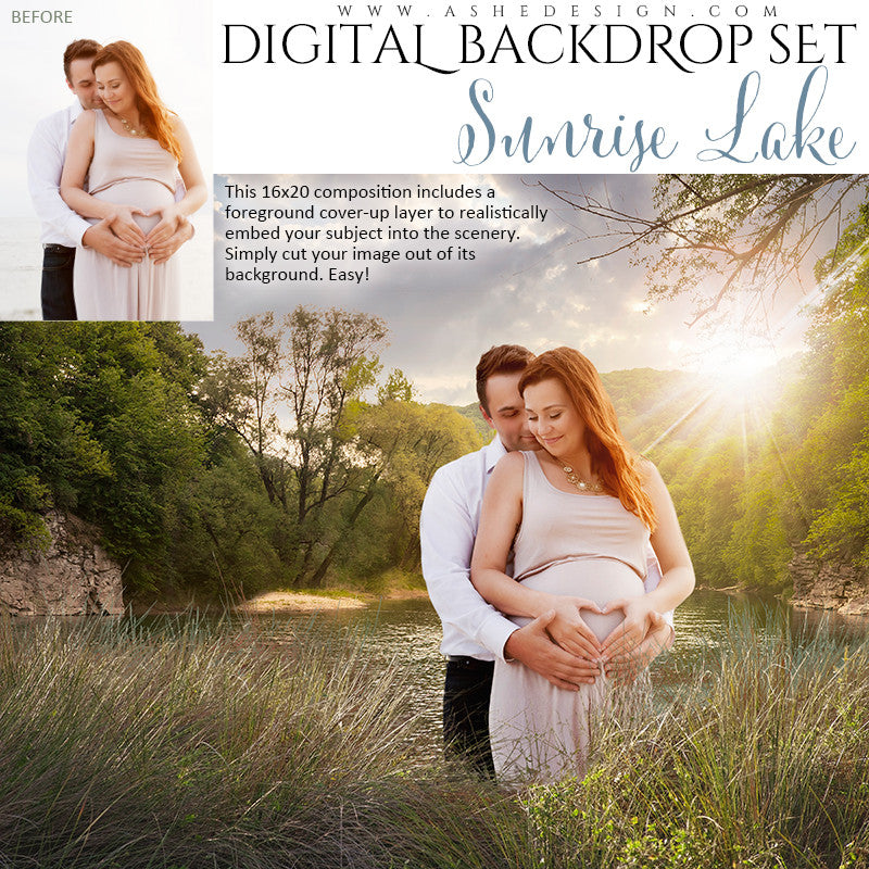 Ashe Design | Digital Backdrop Set | Sunrise Lake
