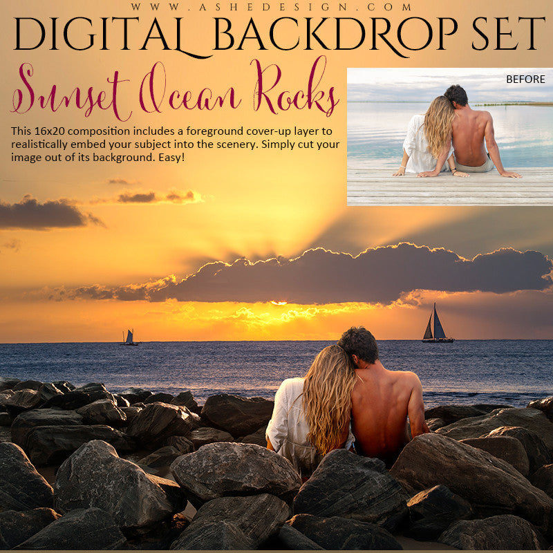 Ashe Design | Digital Backdrop Set | Sunset Ocean Rocks