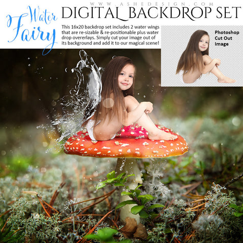 Ashe Design | Digital Backdrop Set | Water Fairy Wings