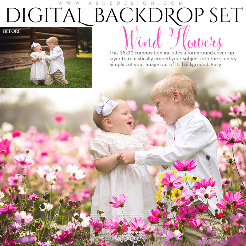 Ashe Design | Digital Backdrops | Wind Flowers