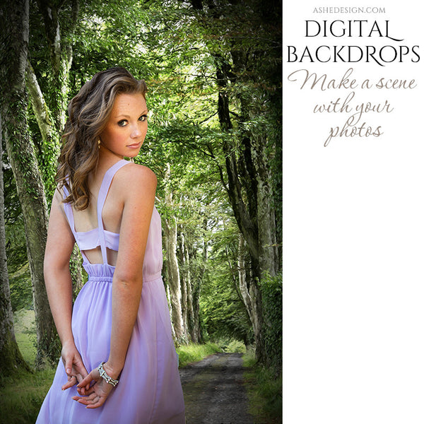 Ashe Design | Digital Backdrops | Wooded Lane example