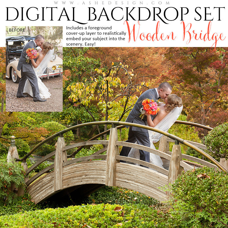 Ashe Design | Digital Backdrops | Wooden Bridge