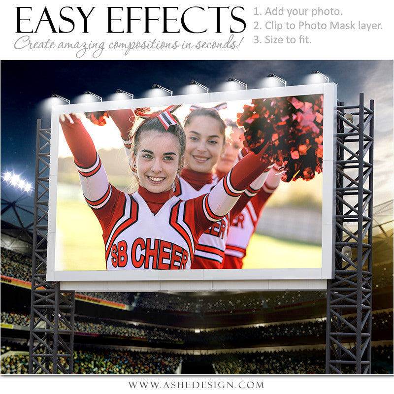 Ashe Design | Easy Effects Posters | Billboard Sports Stadium | Cheer