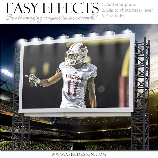 Ashe Design | Easy Effects Posters | Billboard Sports Stadium | Football