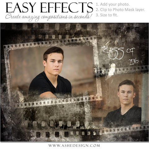 Ashe Design | Easy Effects | Film Strip Grunge Poster | Senior Boy