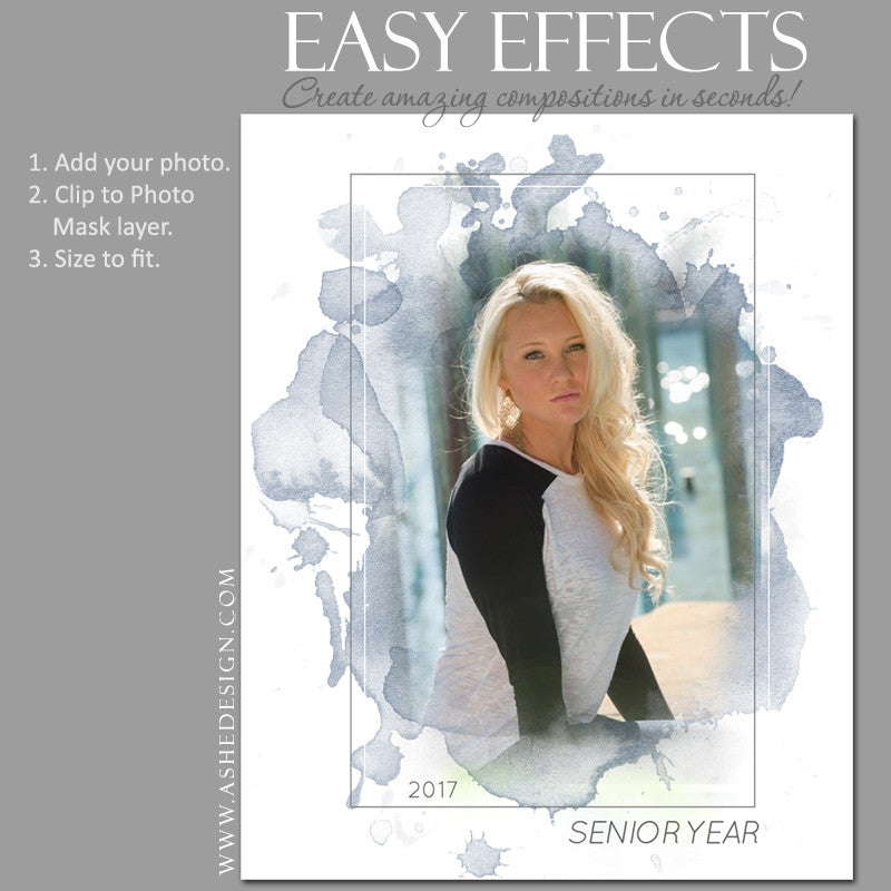 Ashe Design | Easy Effects | Senior Poster | Splash Of Color
