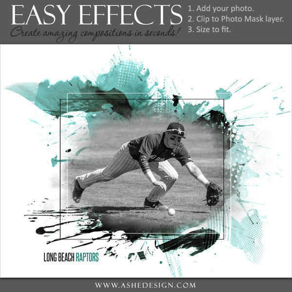 Ashe Design | Easy Effects | Sports Poster | Splattered Paint