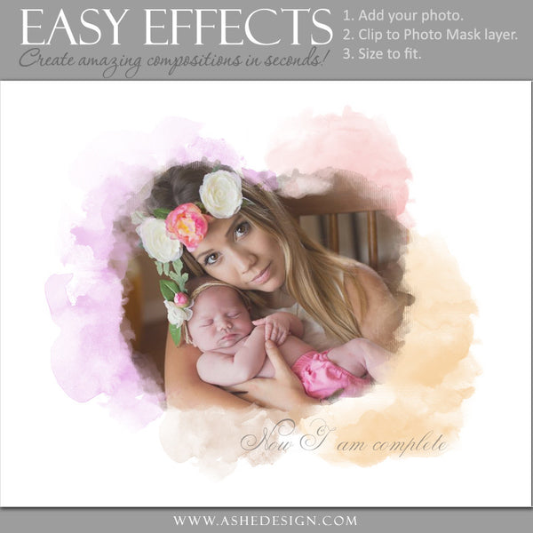 Ashe Design | Easy Effects | Watercolor Mask Poster mom
