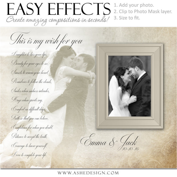 Ashe Design | Photoshop Poster Templates | Easy Effects | My Wish | Wedding