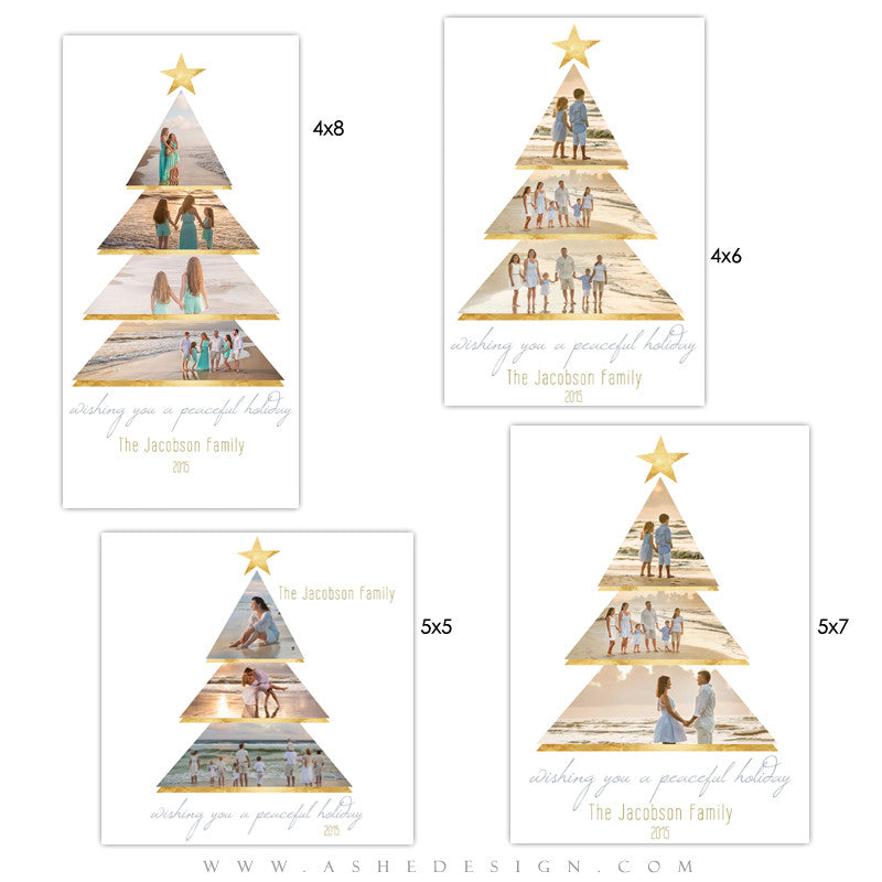 Ashe Design | Holiday Photocards | Photoshop Templates | Gold Foil Holiday