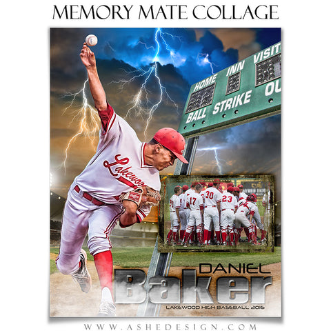 Ashe Design | 8x10 Memory Mate | Photoshop Templates | Lightning Strikes Baseball/Softball vt