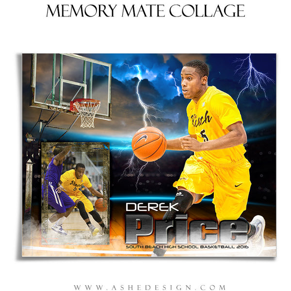 Ashe Design | 8x10 Memory Mate | Photoshop Templates | Lightning Strikes Basketball hz
