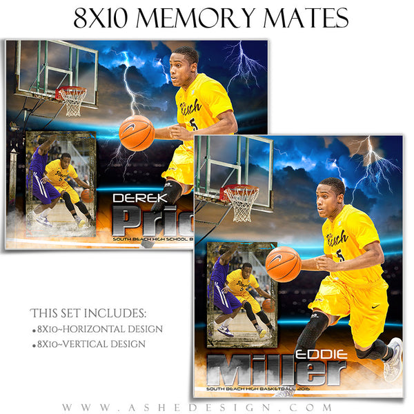 Ashe Design | 8x10 Memory Mate | Photoshop Templates | Lightning Strikes Basketball
