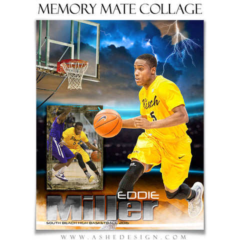 Ashe Design | 8x10 Memory Mate | Photoshop Templates | Lightning Strikes Basketball vt