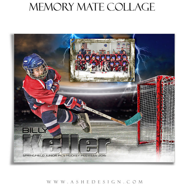 Ashe Design | 8x10 Memory Mate | Photoshop Templates | Lightning Strikes Hockey hz