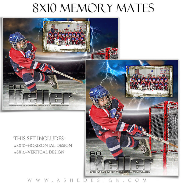 Ashe Design | 8x10 Memory Mate | Photoshop Templates | Lightning Strikes Hockey