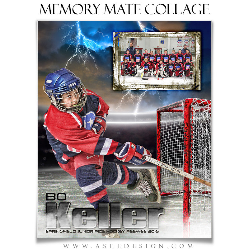 Ashe Design | 8x10 Memory Mate | Photoshop Templates | Lightning Strikes Hockey vt