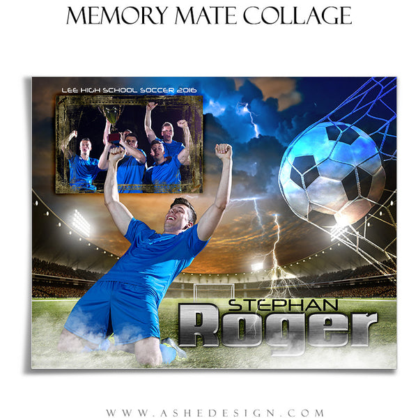 Ashe Design | 8x10 Memory Mate | Photoshop Templates | Lightning Strikes Soccer hz