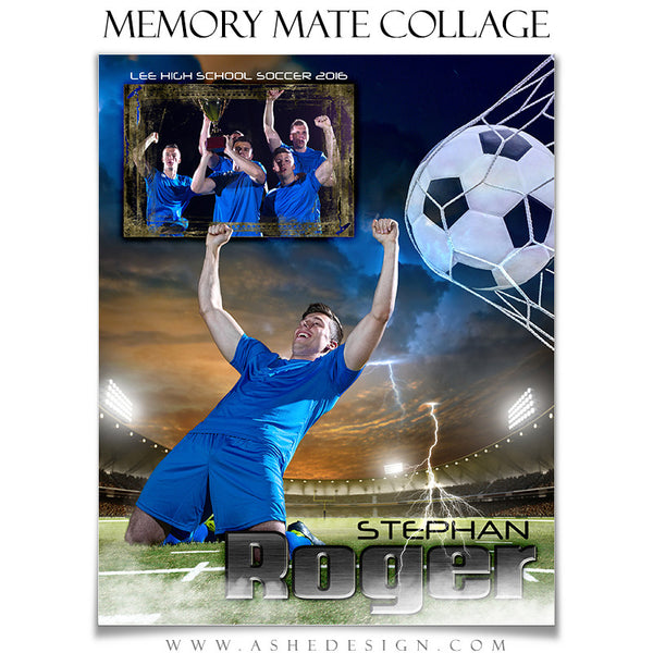 Ashe Design | 8x10 Memory Mate | Photoshop Templates | Lightning Strikes Soccer vt