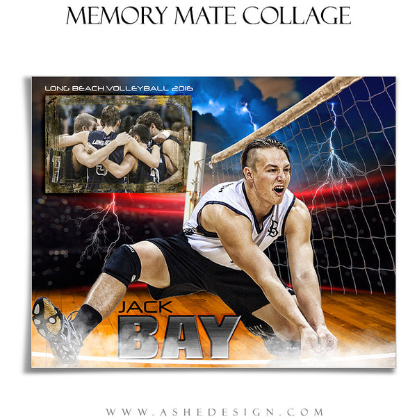 Ashe Design | 8x10 Memory Mate | Photoshop Templates | Lightning Strikes Volleyball hz